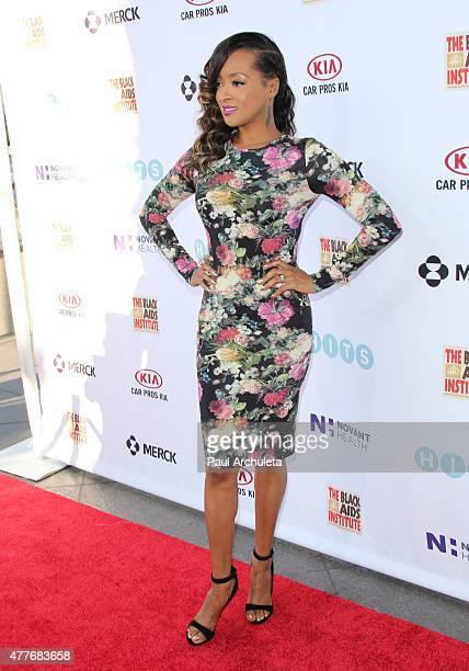 Actress Jennia Fredrique attends the Black AIDS Institutes 2015 Heroes In The Struggle gala reception and awards ceremony at The Directors Guild Of...