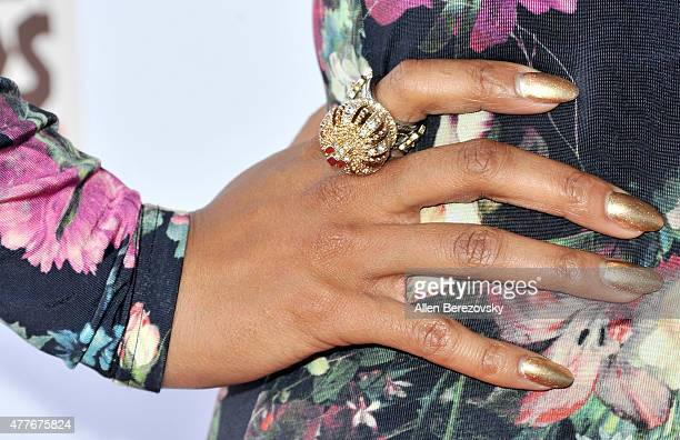 Actress Jennia Fredrique ring detail attends the Black AIDS Institute 2015 Heroes in the Struggle Reception Gala and Awards Ceremony at Directors...