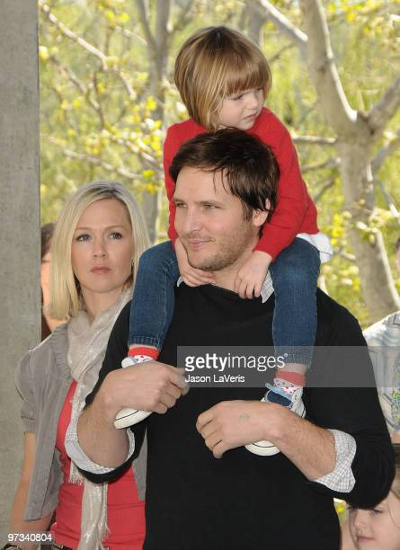 Actress Jennie Garth actor Peter Facinelli and daughter Fiona Eve Facinelli attend the 1st annual Milk Bookies Story Time Celebration at Skirball...