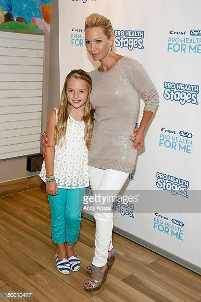 Actress Jennie Garth and daughter Lola attend the Crest OralB ProHealth Stages and ProHealth For Me launch at Make Meaning on August 8 2012 in New...