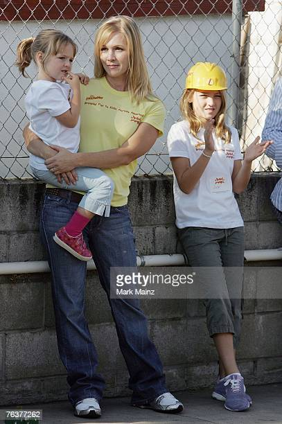 Actress Jennie Garth and daughters Luca Bella and Lola Ray attend an event to help build a playground for underprivileged kids August 29 2007 in...