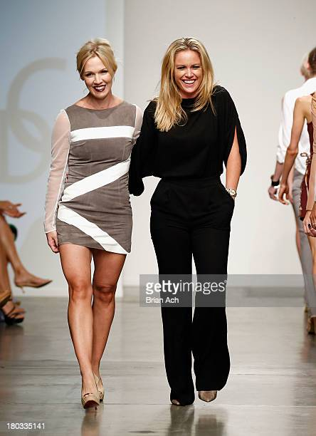 Actress Jennie Garth and designer Aerin O'Connell walk the runway at the Intrepid By AOC show during Nolcha Fashion Week New York Spring/Summer 2014...