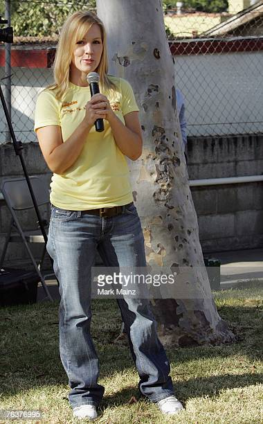 Actress Jennie Garth speaks at an event to help build a playground for underprivileged kids August 29 2007 in South Los Angeles California