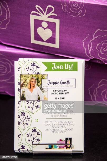 Actress Jennie Garth's MomGiftBox boxes are displayed at Papyrus on October 21 2017 in Los Angeles California