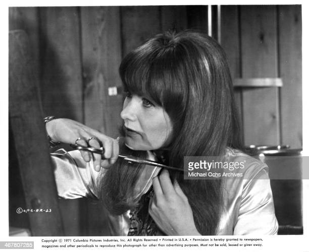 Actress Jennie Linden on set of the movie A Severed Head circa 1970