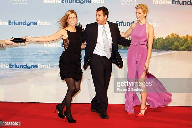 Actress Jennifer Aniston, actor Adam Sandler and actress Brooklyn Decker attend the Germany Premiere of 'Just Go With It' at CineStar at Sony Center...