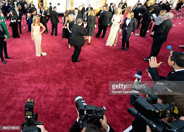 Actress Jennifer Aniston actress Nicole Kidman and singer Keith Urban attend the 87th Annual Academy Awards at Hollywood Highland Center on February...