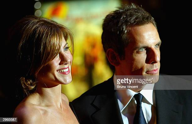 Actress Jennifer Aniston and Actor Ben Stiller arrive at the UK Premiere of 'Along Came Polly' at the Empire Leicester Square on February 18 2004 in...