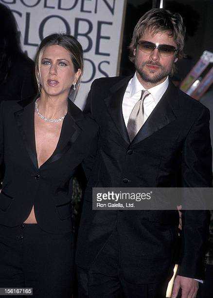 Actress Jennifer Aniston and actor Brad Pitt attend the 59th Annual Golden Globe Awards on January 20 2002 at Beverly Hilton Hotel in Beverly Hills...