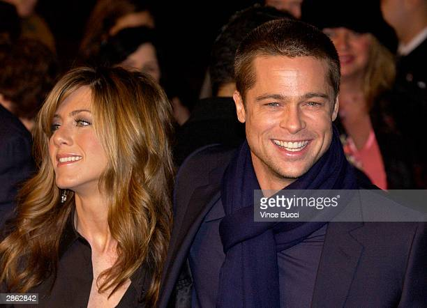 Actress Jennifer Aniston and actor Brad Pitt attend the Los Angeles premiere of Universal Pictures' film Along Came Polly on January 12 2004 at the...