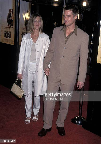 Actress Jennifer Aniston and actor Brad Pitt attend 'The Mexican' Westwood Premiere on February 23 2001 at Mann National Theatre in Westwood...