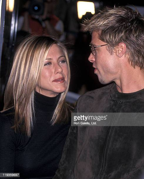 Actress Jennifer Aniston and actor Brad Pitt attend the Spy Game Westwood Premiere on November 19 2001 at Mann National Theatre in Westwood California