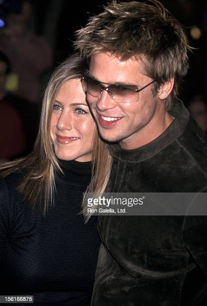 Actress Jennifer Aniston and actor Brad Pitt attend the 'Spy Game' Westwood Premiere on November 19 2001 at Mann National Theatre in Westwood...