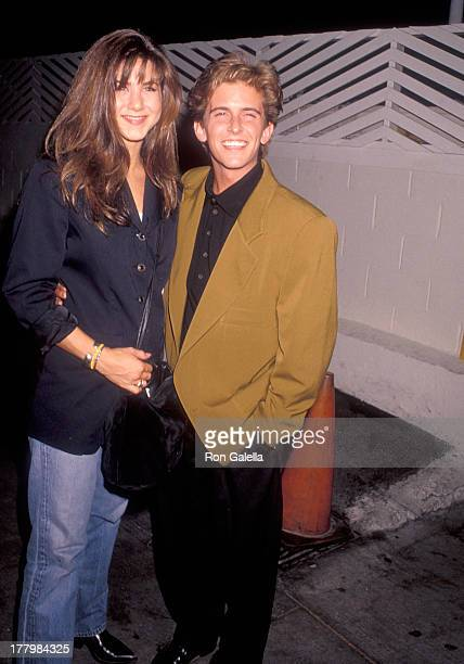 Actress Jennifer Aniston and actor Charlie Schlatter on August 31 1990 dine at Spago in West Hollywood California