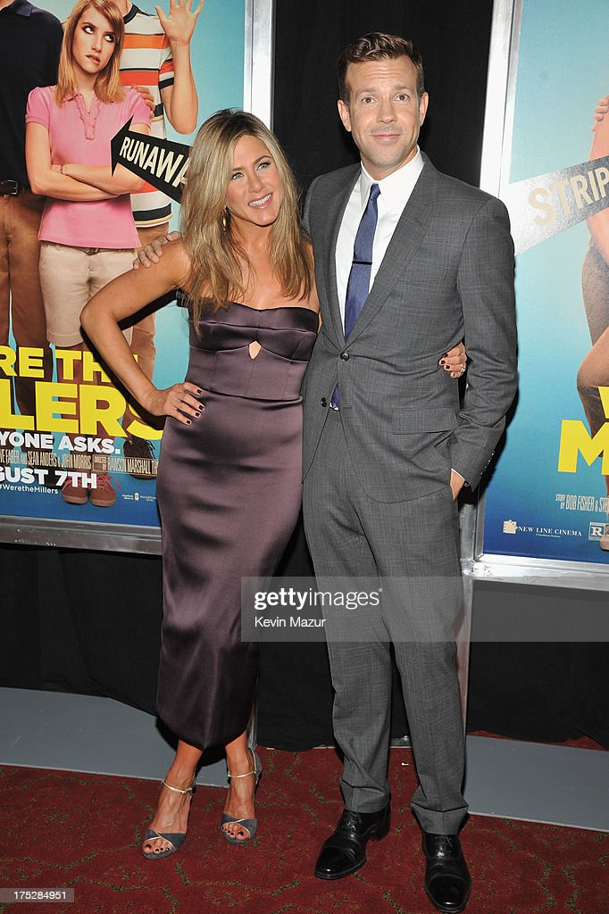 Actress Jennifer Aniston and actor Jason Sudeikis attend the 'We're The Millers' New York Premiere at Ziegfeld Theater on August 1, 2013 in New York City.