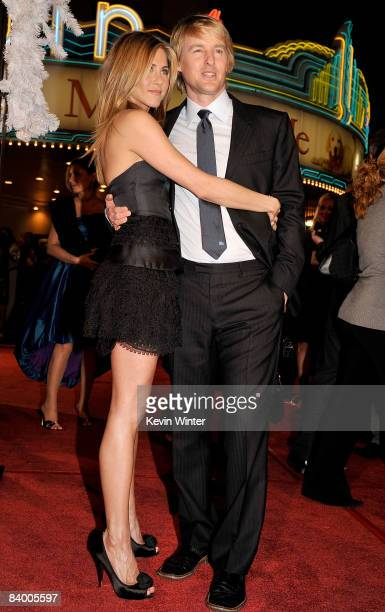 Actress Jennifer Aniston and actor Owen Wilson arrive at the premiere of 20th Century Fox's 'Marley Me' held at the Mann Village Theater on December...