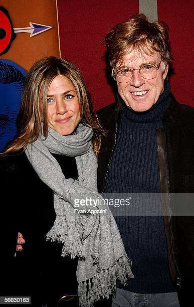 Actress Jennifer Aniston and Actor Robert Redford arrive at the 'Friends with Money' opening night premiere at Eccles Theatre at the 2006 Sundance...