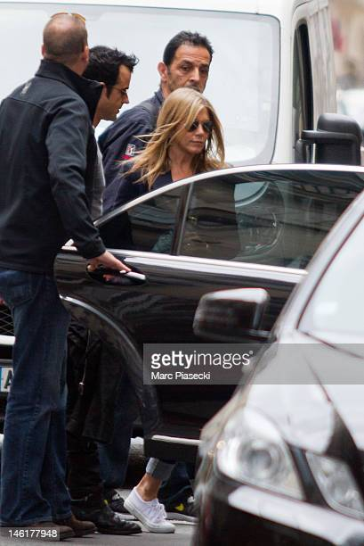 Actress Jennifer Aniston and boyfriend Justin Theroux are seen leaving the 'COLETTE' store on 'Rue Saint Honore' on June 11 2012 in Paris France