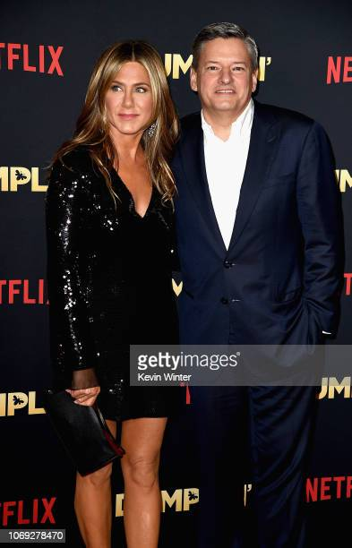 Actress Jennifer Aniston and chief content officer for Netflix Ted Sarandos attend the premiere of Netflix's 'Dumplin'' at TCL Chinese 6 Theatres on...