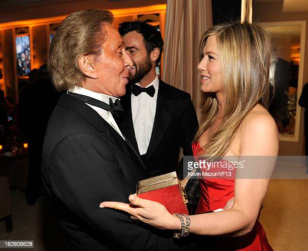 Actress Jennifer Aniston and designer Valentino Garavani attend the 2013 Vanity Fair Oscar Party hosted by Graydon Carter at Sunset Tower on February...
