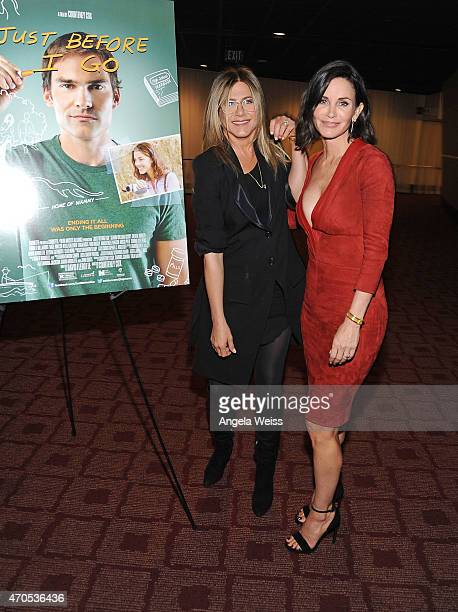 Actress Jennifer Aniston and director Courteney Cox attend the Los Angeles Special Screening of Just Before I Go at ArcLight Hollywood on April 20...