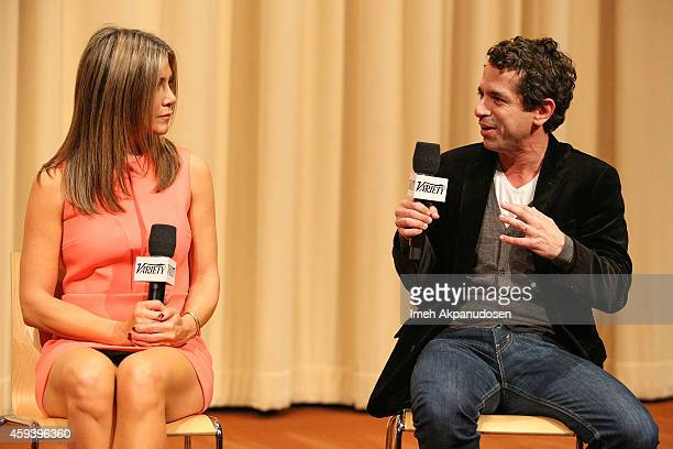 Actress Jennifer Aniston and director Daniel Barnz speak onstage during a QA following the screening of 'Cake' during the 2014 Variety Screening...