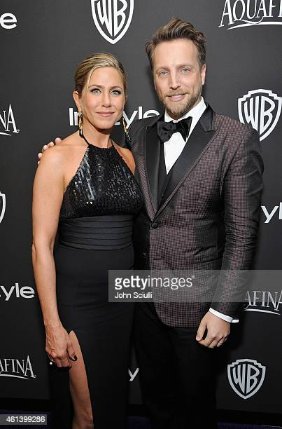 Actress Jennifer Aniston and InStyle Editor in Chief Ariel Foxman attend the 2015 InStyle And Warner Bros 72nd Annual Golden Globe Awards PostParty...