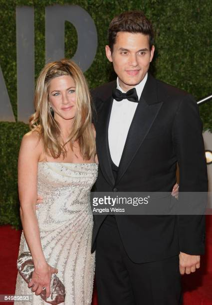 Actress Jennifer Aniston and John Mayer arrive at the 2009 Vanity Fair Oscar Party hosted by Graydon Carter held at the Sunset Tower on February 22...