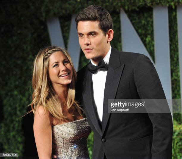 Actress Jennifer Aniston and musician John Mayer arrive at the 2009 Vanity Fair Oscar Party at the Sunset Tower on February 22 2009 in West Hollywood...