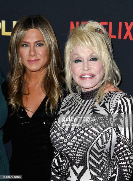 Actress Jennifer Aniston and singer Dolly Parton attend the premiere of Netflix's 'Dumplin'' at TCL Chinese 6 Theatres on December 6 2018 in...