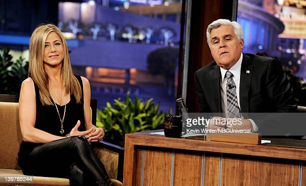 Actress Jennifer Aniston appears on the Tonight Show With Jay Leno at NBC Studios on February 24 2012 in Burbank California