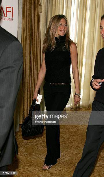 Actress Jennifer Aniston arrives at AFI Associates luncheon honoring Hollywood's Arquette family with the 6th Annual Platinum Circle Award held at...