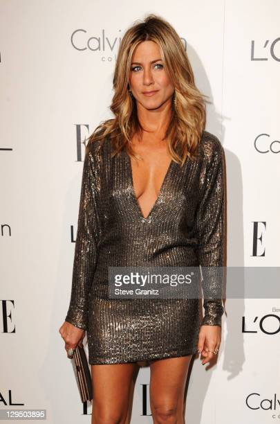 Actress Jennifer Aniston arrives at ELLE's 18th Annual Women in Hollywood Tribute held at the Four Seasons Hotel on October 17 2011 in Los Angeles...