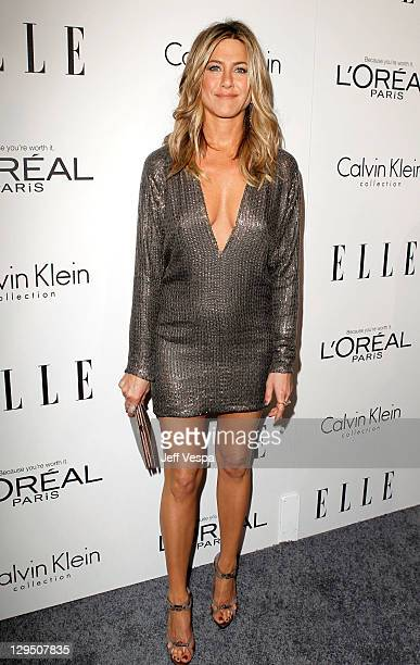 Actress Jennifer Aniston arrives at ELLE's 18th Annual Women in Hollywood Tribute held at the Four Seasons Hotel Los Angeles at Beverly Hills on...