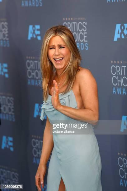 Actress Jennifer Aniston arrives at the 21st Annual Critics' Choice Awards at Barker Hangar at Santa Monica Airport in Los Angeles USA on 17 January...