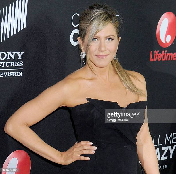 Actress Jennifer Aniston arrives at the Lifetime movie premiere of Call Me Crazy A Five Film at Pacific Design Center on April 16 2013 in West...