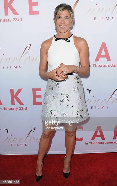 Actress Jennifer Aniston arrives at the Los Angeles Premiere Cake at the ArcLight Hollywood Theater on January 14 2015 in Hollywood California