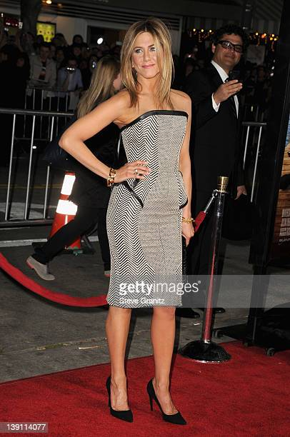 Actress Jennifer Aniston arrives at the Los Angeles premiere of Wanderlust at Mann Village Theatre on February 16 2012 in Westwood California