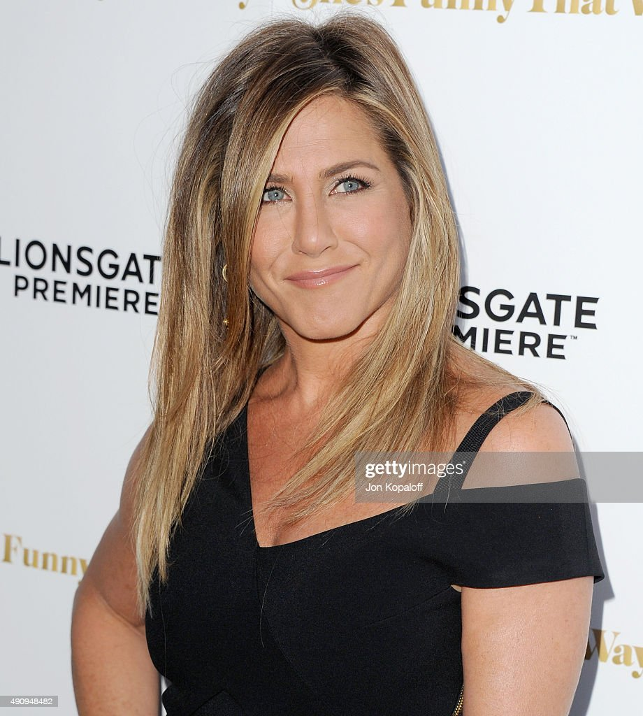 Actress Jennifer Aniston arrives at the Los Angeles Premiere 'She's Funny That Way' at Harmony Gold on August 19, 2015 in Los Angeles, California.