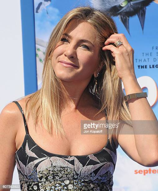 Actress Jennifer Aniston arrives at the Los Angeles Premiere Storks at Regency Village Theatre on September 17 2016 in Westwood California