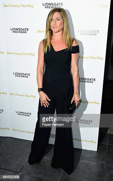 Actress Jennifer Aniston arrives at the Premiere Of Lionsgate Premiere's She's Funny That Way at Harmony Gold on August 19 2015 in Los Angeles...