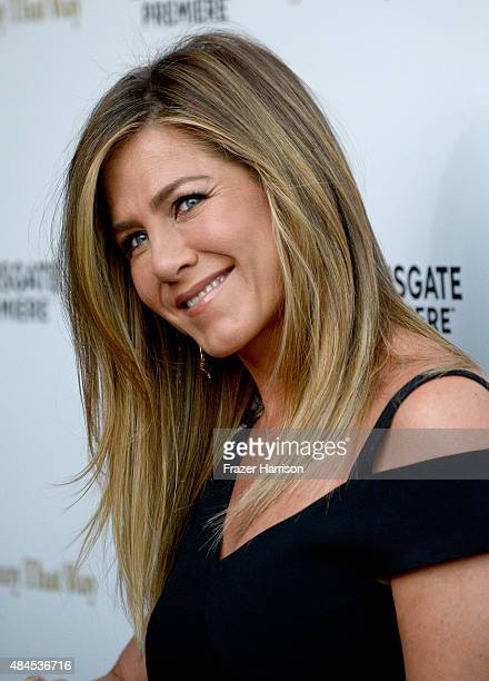Actress Jennifer Aniston arrives at the Premiere Of Lionsgate Premiere's 'She's Funny That Way' at Harmony Gold on August 19 2015 in Los Angeles...