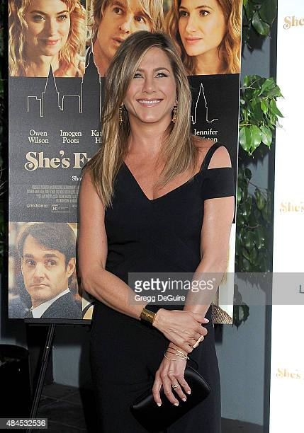Actress Jennifer Aniston arrives at the premiere of Lionsgate's She's Funny That Way at Harmony Gold on August 19 2015 in Los Angeles California