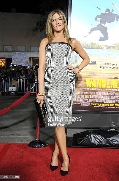 "Actress Jennifer Aniston arrives at the premiere of Universal Pictures' ""Wanderlust"" held at Mann Village Theatre on February 16, 2012 in Westwood,..."