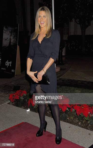 Actress Jennifer Aniston arrives at the premiere screening of the FX Network's Dirt at the Paramount Theater on December 9 2006 in Los Angeles...