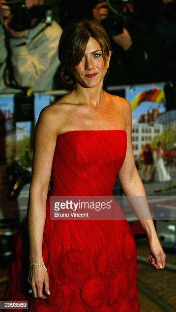 Actress Jennifer Aniston arrives at the UK Premiere of 'Along Came Polly' at the Empire Leicester Square on February 18 2004 in London