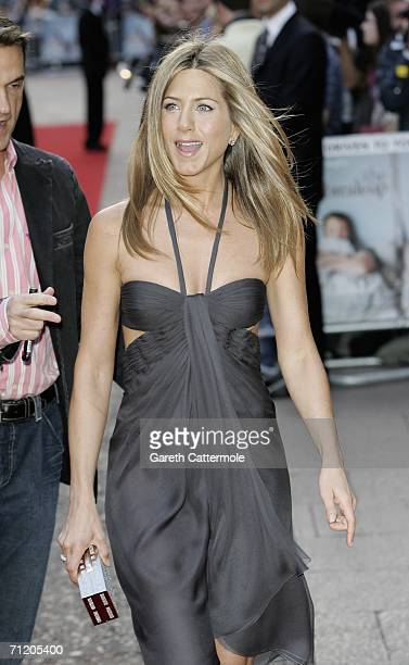 Actress Jennifer Aniston arrives at the UK premiere of 'The Breakup' at the Vue West End on June 14 in London England