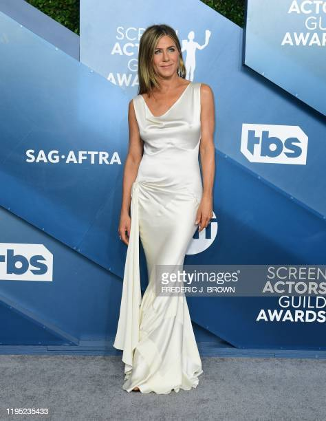 US actress Jennifer Aniston arrives for the 26th Annual Screen Actors Guild Awards at the Shrine Auditorium in Los Angeles on January 19 2020