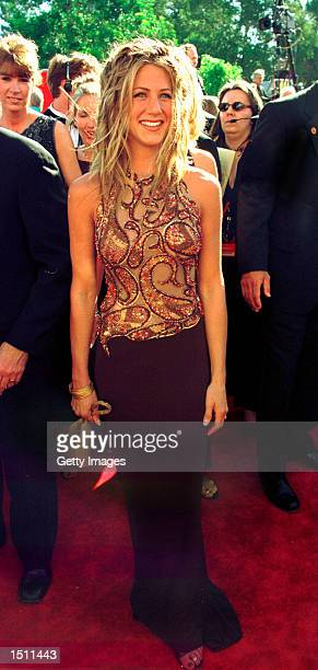 Actress Jennifer Aniston arrives for the 51st Annual Primetime Emmy Awards at the Shrine Auditorium in Los Angeles Sunday Sept 12 1999