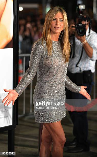 """Actress Jennifer Aniston arrives on the red carpet for the premiere of her new Universal Pictures movie """"Love Happens"""" at Mann's Village Theater in..."""